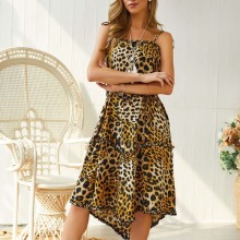 Summer new womens irregular chiffon dress leopard wave point sling strap fashion casual