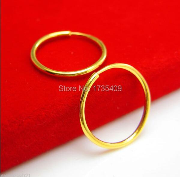 Real Solid 999 24k Yellow Gold Earrings / Little Circle Hoop Earrings / 1.42g