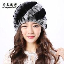 Women Winter Fur Hat Cap Knitted Hats Warm Rex Rabbit Fur Hats Women Top Quality Casual Beanies elastic thicking Natural Fur hat