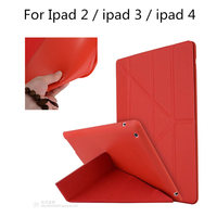 Case For iPad 2 3 4 PU Leather Smart Cover Multiple Stand + Glitter Silicone Soft Back for iPad4 ipad3 ipad2 9.7 inch Tablet