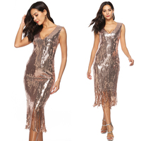 Sexy Dress Club Wear Sequin Party Dress Golden Sexy Deep V Neck Bandage Dresses for Women Long Striped Sequin Fringe Dress New