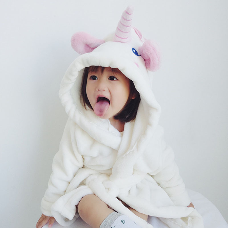 Childrens Bathrobes For Girls Unicorn Robe Hooded Sleepwear Flannel Roupao Cartoon Pajam ...