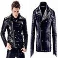 Плюс размер мужской Моды тонкий мотоцикл Натуральной Кожи Куртка Верхней Одежды Ночной Клуб певец dj этап производительность носите звезды