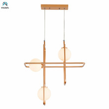 Nordic 3 Light Paint Gold Metal G4 Led Chandelier Led Hang Chandelier Lighting Glass Shades Led Chandelier Lighting Fixtures cheap VIGOUS ROHS iron LED Bulbs Modern 1 year Knob switch Polished Up Down Frosted Glass Semiflush Mount 90-260V beans SG008