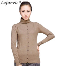 Lafarvie Womens Winter&Autumn Wool Blend Sweater New Design Pullovers Turtleneck Knitted Sweaters With Buttons