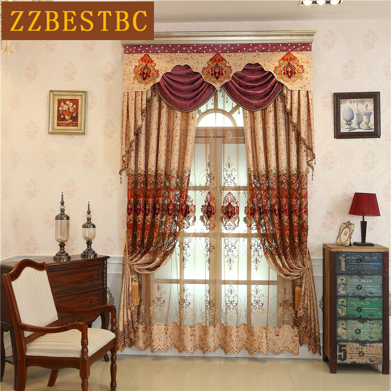Classic European high quality embroidered villa curtains for living room window curtain bedroom Custom luxury