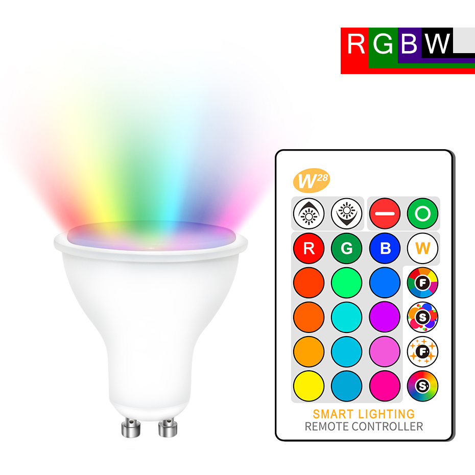 GU10 RGB LED Bulb 8W IR Remote Control AC 85-265V Atmosphere Lighting 16 Color Changeable Decorative Lights Warm White