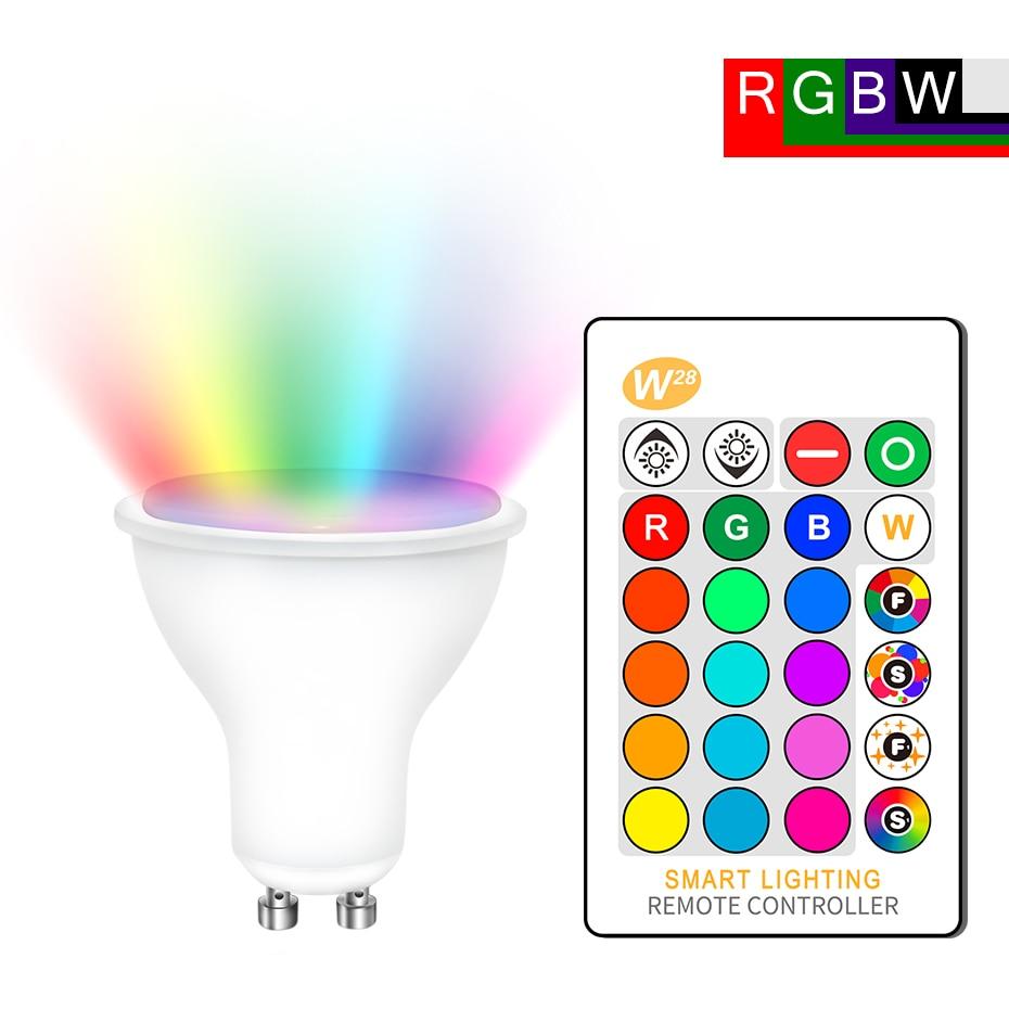 GU10 RGB LED Bulb 8W IR Remote Control AC 85-265V Atmosphere Lighting 16 Color Changeable Decorative Lights Warm White