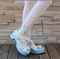 יפני לוליטה חמודה נסיכת נעליים עקב נמוך נעלי עוזרת Cos קוספליי עניבת פרפר ורוד סגול כחול