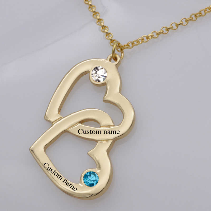 Heart in Heart Pendant Necklace New Arrival Birthstone Men and Women's Long Necklaces Can Custom Made Any Name  YP2490