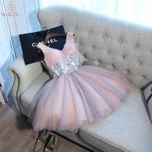 Korte Prom Dresses Lopen Naast Je Baljurk Roze Grijs Lovertjes V hals Elegant Avond Formele Party Gown vestido formatura curto