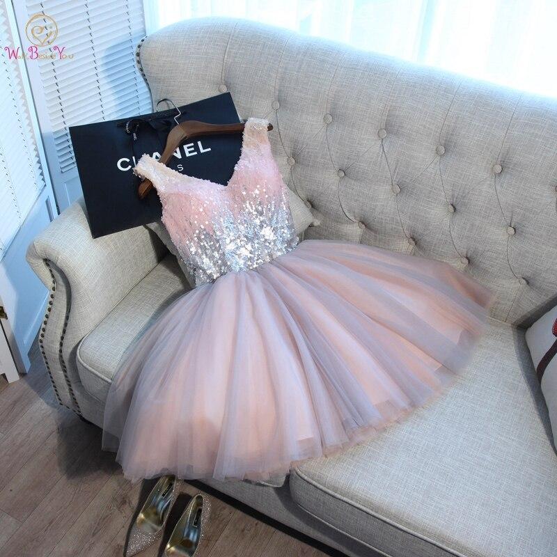 Robes de bal courtes marcher à côté de vous robe de bal rose gris pailleté col en v élégant soirée formelle robe de soirée vestido formatura curto