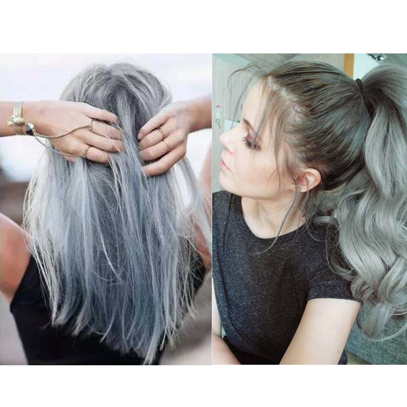 Hair Color Cream Light Gray Hair Cream Permanent Easy Temporary DIY Super  Dye Charming Light Gray 100ml For Men Women 1pc EM85 In Hair Color From  Beauty ... Photo
