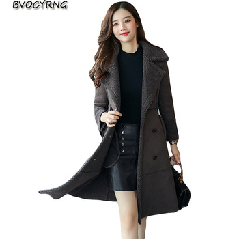 New Autumn And Winter Women Faux Lambs Wool Sheepskin Coat Female Long High Quality Warm Coats Faux Suede Leather Jackets A0795