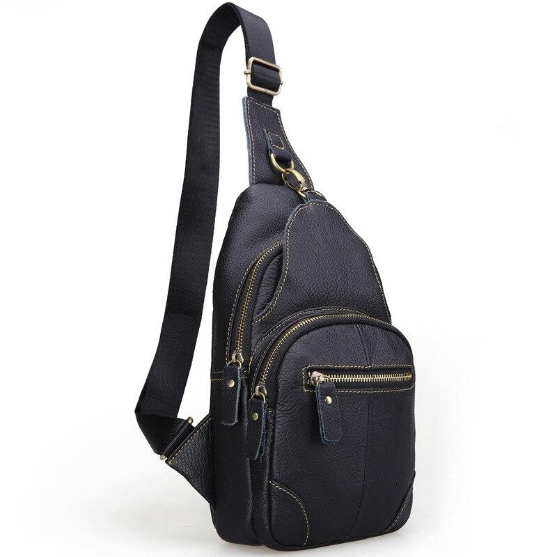 Brand Bag Men Small Travel Chest Pack Genuine Leather Men Messenger Bags Single Rucksack Chest Bag