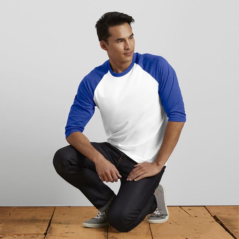 Composite Bats Men 3/4 Sleeve Plain T-Shirt Baseball Raglan Jersey Fashion Casual