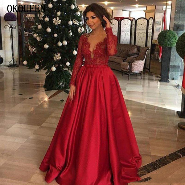 Hot Red Evening Dresses Long 2019 Lace Long Sleeves A-Line Satin Robe De Soiree Vestidos De Fiesta De Noche Abiye Gece Elbisesi