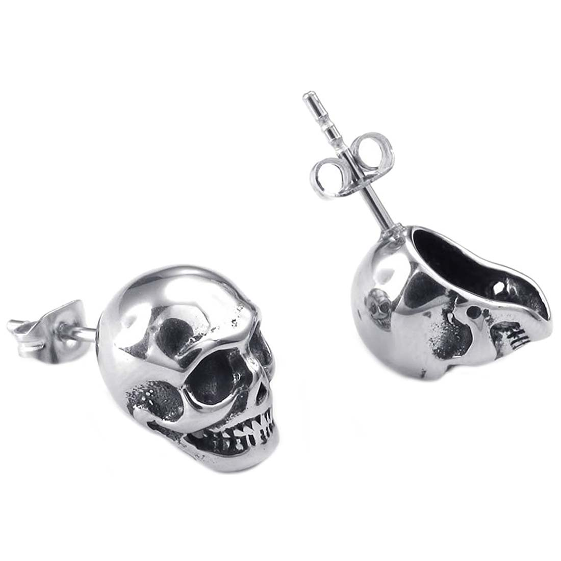 Jewelry Earrings Men - Gothic Skull Ear Studs - Stainless Steel - for Men - Color Black Silver - With Gift Bag