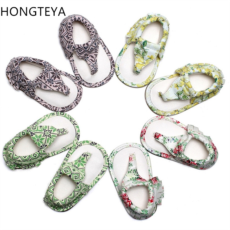Hongteya New Summer infant T-bar sandals 10 colors Hot sale Pu leather Baby moccasins Rubber sole tassel Baby boys girls sandals