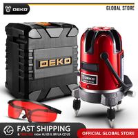 DEKO LL57/58 RED Horizontal Vertical Cross Line 360 Degrees Rotary 5 Lines 6 Points Self leveling Laser Level High Visibility