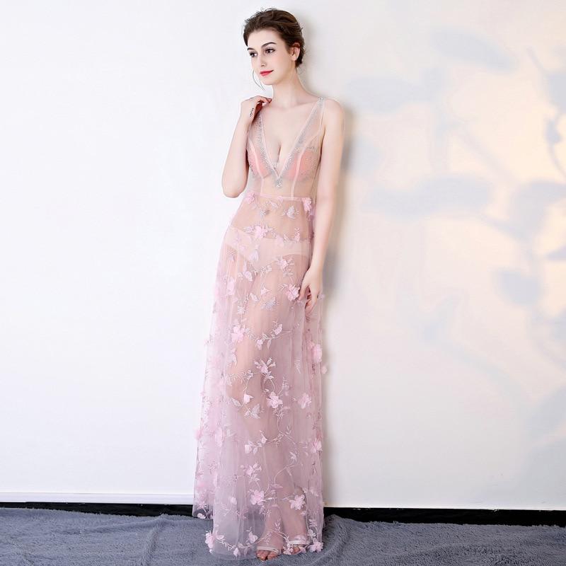 0699 Sexy Sijane Fleur V Pub Robes Travers white À Décoration pink Une Blue cou De Robe Voir Ligne Club Empire Parti TqqwdB7