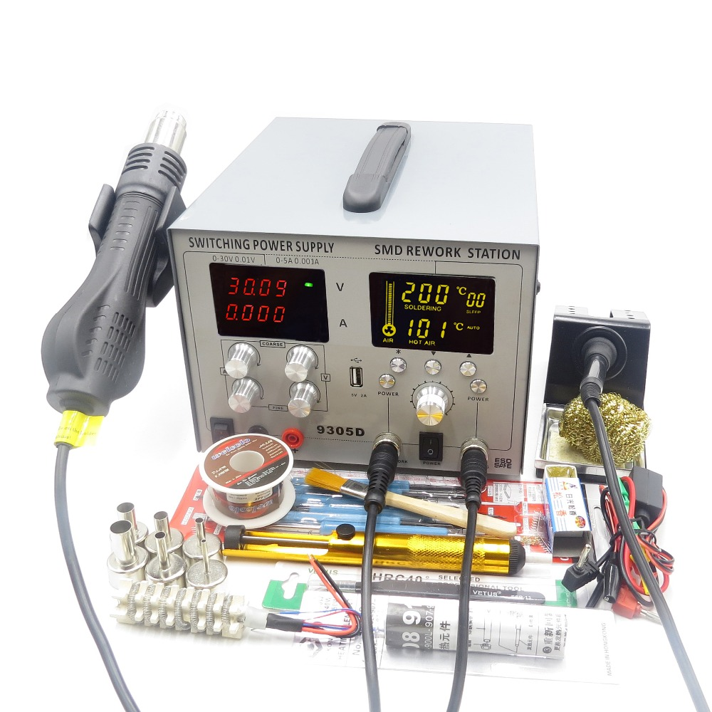 110V/220V 4 IN 1 30V 5A DC POWER SUPPLY SMD BGA HOT AIR GUN REWORK station AUTO sleep SOLDERING IRON STATION usb 5v2a интегральная микросхема 20 smd b rb520s 30 200mw 30v smd