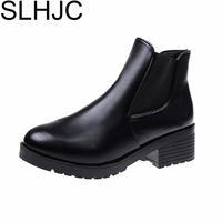 SLHJC Autumn Leather Boots Medium Heels Chunky Stacked Heel Ankle Boots Short Design Shoes Pumps 5