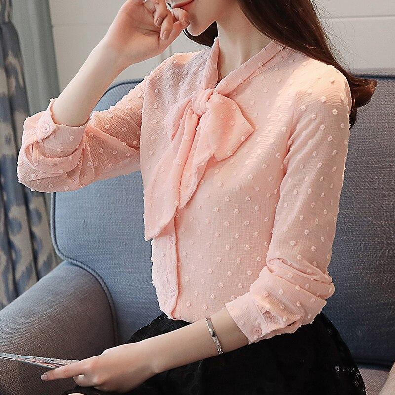 40 Dot Pink La Largo Coreano 1252 De Mujeres blanco Blusa Corbata Estilo Primavera azul Arco Chiffon 2018 Manga Nuevo Camisa Collar Slim Las Polka qxRwpnZCpF