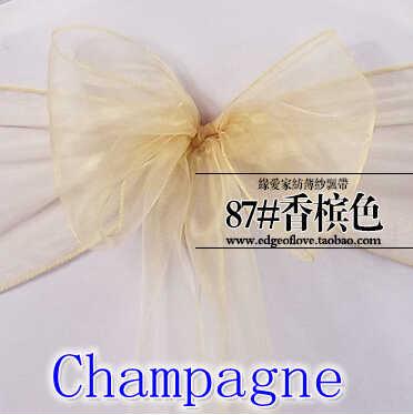 Платье цвета шампанского с органза стул створки поясом, украшенным кристаллами Свадебная вечеринка в отеле Показать украшения ногтей мерцающий Блестящий бант на стул band
