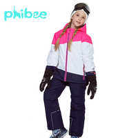 Phibee Winter Suit For Girl Kids Clothes Ski Suit Warm Waterproof Windproof Snowboard Sets Winter Jacket Children Clothing