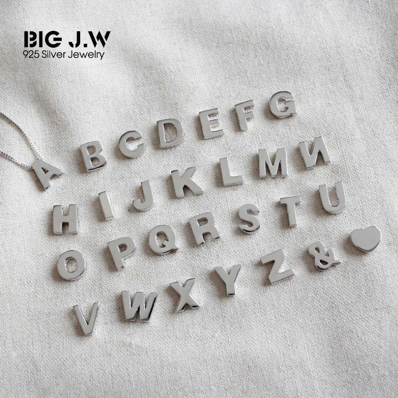 BIG J.W Classic Genuine 925 Sterling Silver Pendant for Women Personalized Single A-Z Letter Without Chain Necklace Men Jewelry