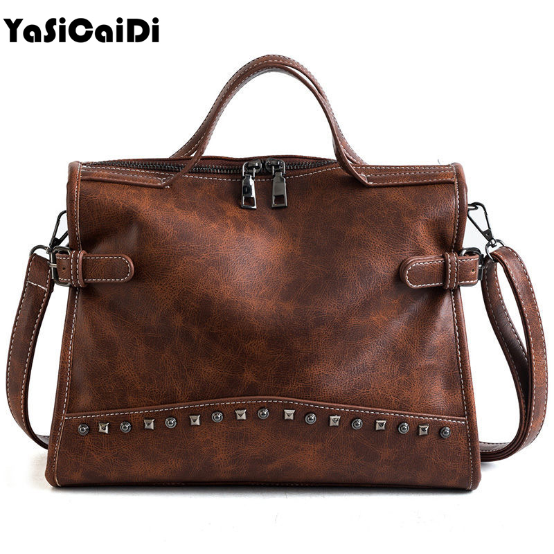 YASICAIDI Brand Women Handbag High Quality PU leather Casual Tote Bag Boston Shoulder Messenger Bags Rivet Design Women Bag 2018 fashionable women s tote bag with cover and pu leather design