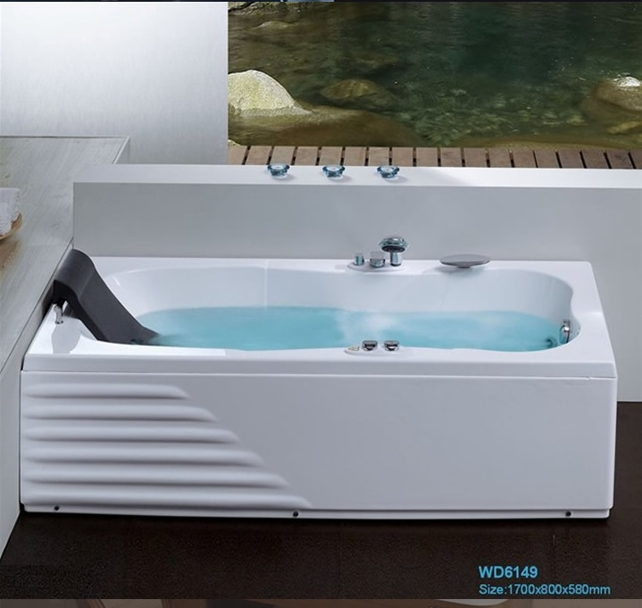 Wall Corner Fiber glass Acrylic whirlpool bathtub Left Skirt Hydromassage Tub Nozzles Spary jets spa RS6149D