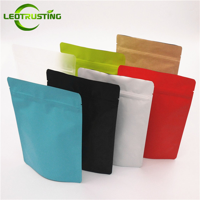 Leotrusting 50pcs/pack Stand Up Matt Aluminum Foil Ziplock Bag Colorful Doypack Coffee Tea Packaging Bag Eco-friendly Gift Pouch
