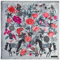 [POBING] Marque de luxe D'hiver Écharpe En Cachemire Laine Carré Écharpe Espagne Cheval Rose Fleur Imprimer Foulard Femmes Châles Wrap Hijab