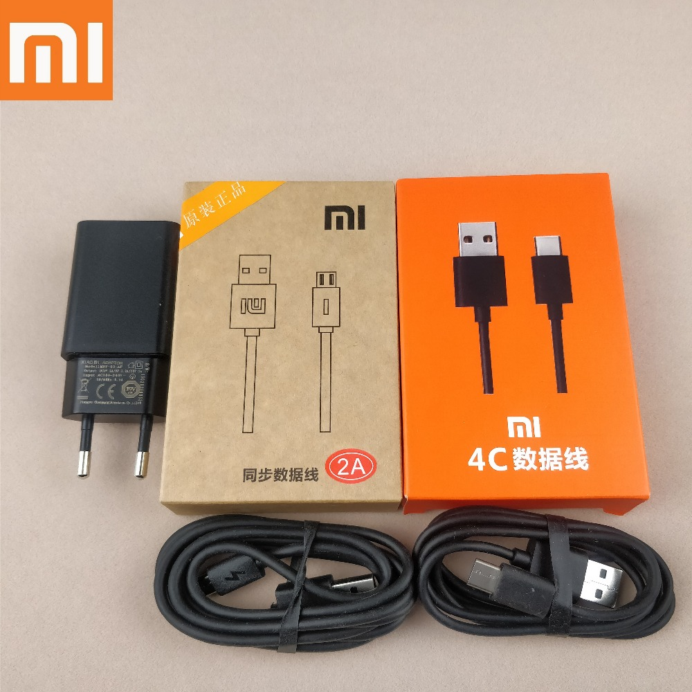 xiaomi redmi 5 plus Quick Charger Original 12V 1A QC2.0 Fast Wall Charge Adapter+Micro Usb or Usb type-C cable For Mi 5 5s 4c 4s
