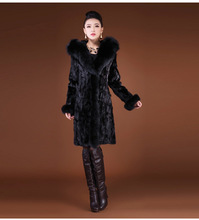 Winter fur coat 2018 listing hood imitation fox extended section autumn artificial  leisure Windbreaker Black 6XL