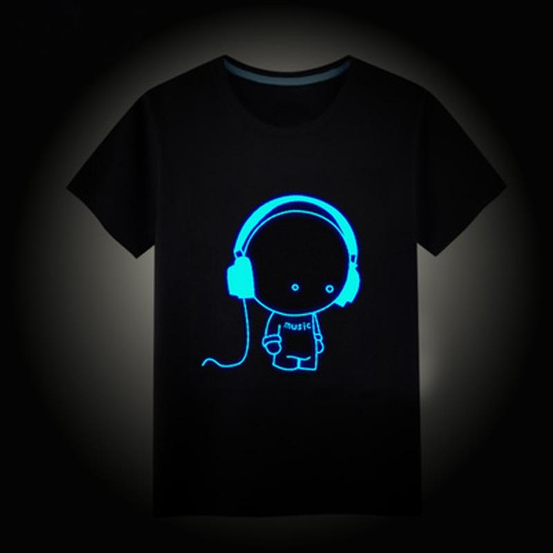 2018 Børn Summer T-shirt kortærmet T-shirts til børn drenge piger t-shirt Hip Hop Neon Print Party Club Natt lys punk top tees