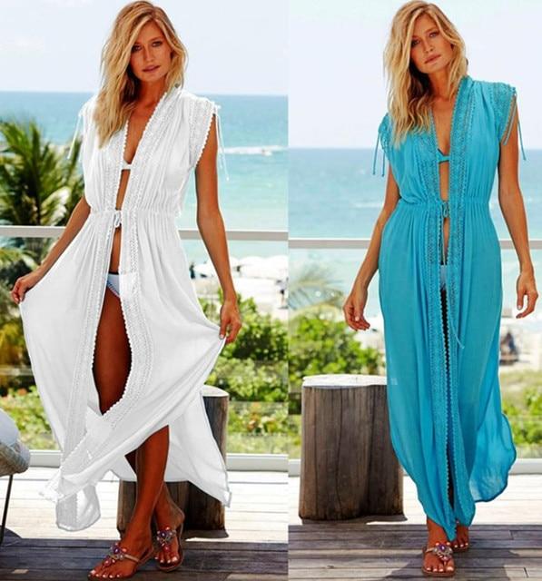 c466debcd5 2018 Cotton Beach Cover Up Kaftans Sarong Bathing Suit Cover Ups Beach  Pareos Beach Tunic Long Beach Dress