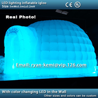 Free shipping LED lighting inflatable igloo tent LED lighted inflatable dome tent remote control color changing LED