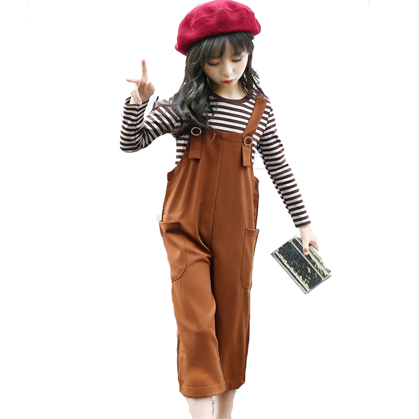 Children Clothing Sets For Girls Outfits Cotton Striped T-Shirts & Overalls 2Pcs 2017 Autumn Loose Jumpsuits For Girls Tees 2-12