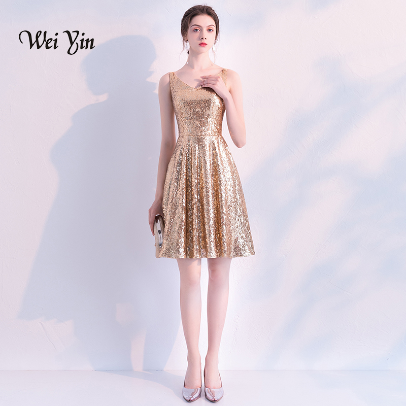 weiyin Sequined   Cocktail     Dresses   2018 New Elegant V Neck Sleeveless Backless Formal Party Gowns Above Knee Vestidos WY887