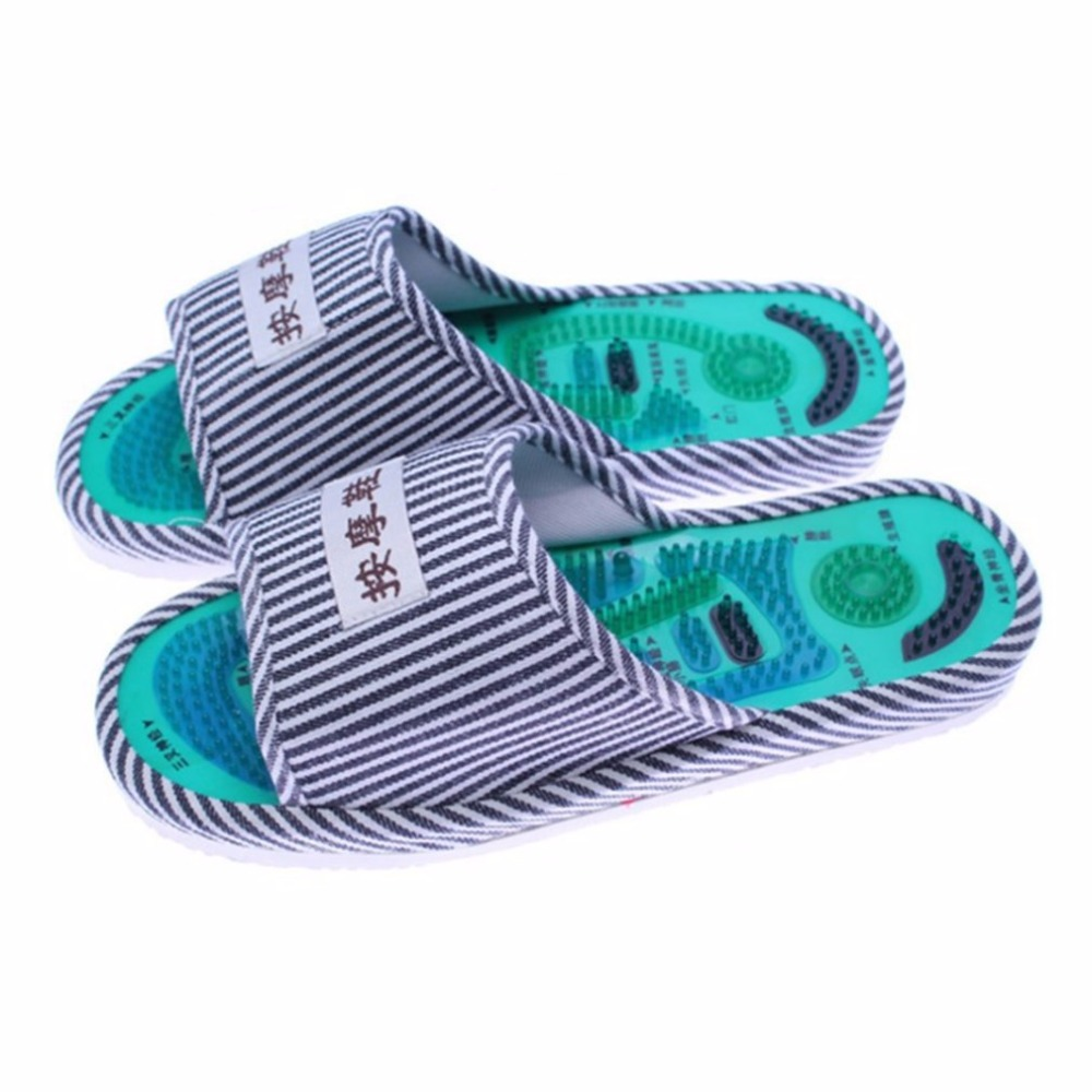Striped Pattern Reflexology Foot Acupoint Slipper Massage Promote Blood Circulation Relaxation Foot Care Shoes 25cm New sale green foot reflexology electric vibrating foot massage infrared heat therapy body relax blood circulation warm feet massager