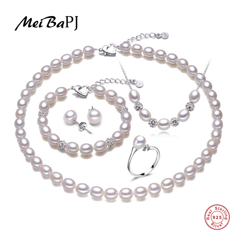 MeiBaPJ 925 Sterling Silver 5 Items Sets 100% Real Natural Pearl Jewelry Set For Women Top Quality White Color Gift Box