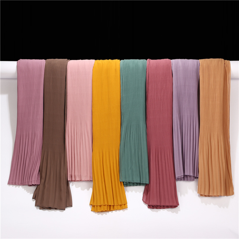 New Style Bubble Chiffon Crinkle Striped Muslim Hijabs Veil Scarf With Pleated Ruffle Edges Plain Long African Shawl Wrap 1pc