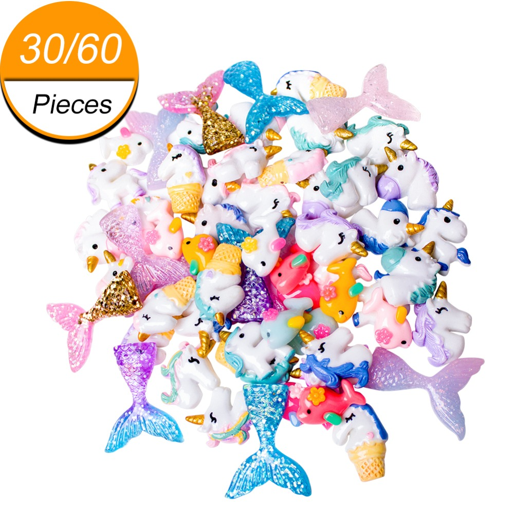 30/60 stück Schleim Charms mit Meerjungfrau Schwanz Unicornm Delphin Harz Flatback von Schleim Perlen für Ornament Sammelalbum DIY Handwerk