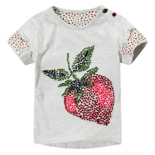 2016 New high quality Cotton Children Short Sleeve T-Shirts Strawberry Kids Clothing Tees shirt For Girl 359