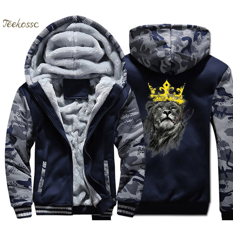 Lion King Hoodie Men Animal Print Hooded Sweatshirt Coat 2018 Winter Warm Fleece Thick High Quality Cool Camouflage Jacket Mens