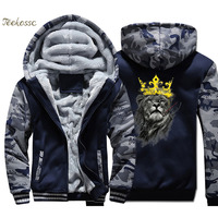 Lion King Hoodie Men Animal Print Hooded Sweatshirt Coat 2018 Winter Warm Fleece Thick High Quality Cool Camouflage Jacket Mens