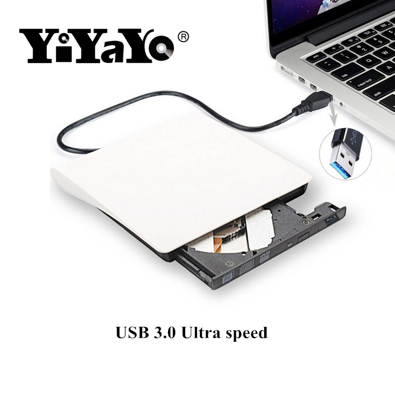 цена на YiYaYo Bluray Player External USB 3.0 DVD Drive Blu-ray 3D 25G 50G BD-ROM CD/DVD RW Burner Writer Recorder for Windows 10 forMAC